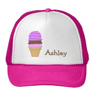 Electric Purple Chevron; Ice Cream Cone Trucker Hats