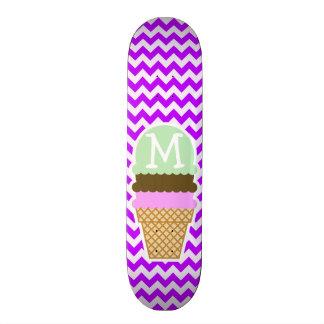 Electric Purple Chevron; Ice Cream Cone Skateboard Deck