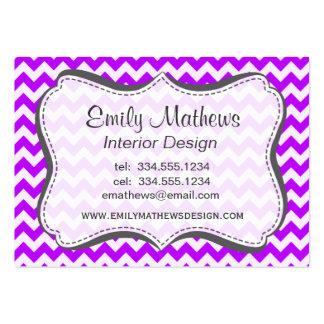 Electric Purple Chevron; zigzag Business Card Templates