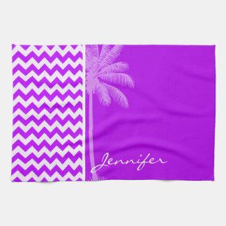 Electric Purple Chevron; zigzag; Palm Hand Towels