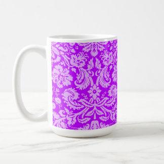 Electric Purple Damask Classic White Coffee Mug