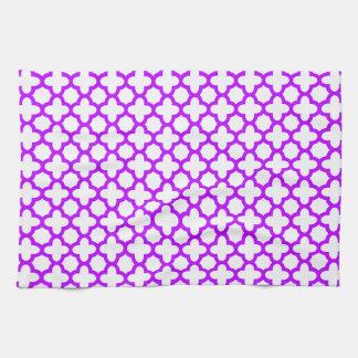 Electric Purple Quatrefoil Pattern Towels