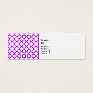Electric Purple Quatrefoil Pattern Mini Business Card