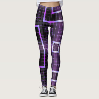Electric Purple Square Geometric Leggings