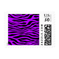 Electric Purple Zebra Stripes Animal Print Postage
