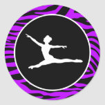 Electric Purple Zebra Stripes; Ballet Classic Round Sticker