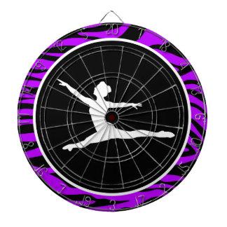 Electric Purple Zebra Stripes; Ballet Dartboard With Darts