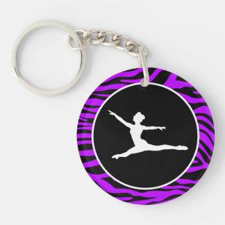 Electric Purple Zebra Stripes; Ballet Keychain