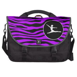 Electric Purple Zebra Stripes; Ballet Bag For Laptop