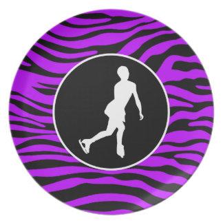 Electric Purple Zebra Stripes; Figure Skating Dinner Plate