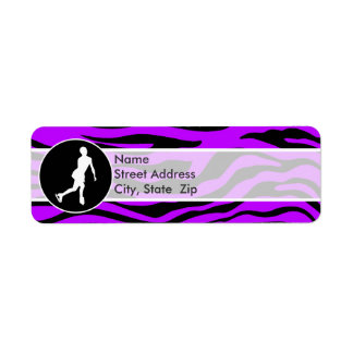Electric Purple Zebra Stripes Figure Skating Return Address Label