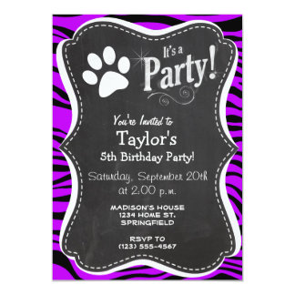 Electric Purple Zebra Stripes; Paw Print Card