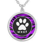 Electric Purple Zebra Stripes; Paw Print Necklace