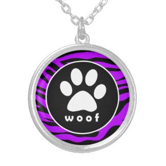 Electric Purple Zebra Stripes; Paw Print Round Pendant Necklace