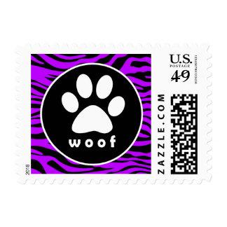 Electric Purple Zebra Stripes; Paw Print Postage Stamps