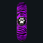 "Electric Purple Zebra Stripes; Paw Print Skateboard Deck<br><div class=""desc"">You will love this cute &quot;woof&quot; dog paw print &amp; Electric Purple Zebra Stripes &quot;Animal Print&quot;  pattern design!  We invite you to our store,  PetWorld,  to view this cool pattern on many more great customizable pet products,  including girly birthday cards,  modern kids invitations,  and trendy postcard kid&#39;s party invitations!</div>"