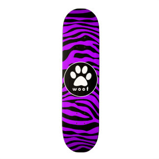 Electric Purple Zebra Stripes; Paw Print Skateboard Deck