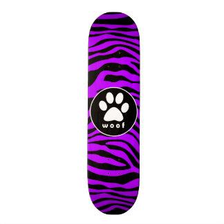 Electric Purple Zebra Stripes; Paw Print Skateboard Deck