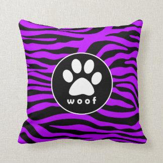 Electric Purple Zebra Stripes; Paw Print Throw Pillow