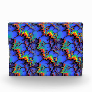 Electric Rainbow Waves Fractal Art Pattern Acrylic Award