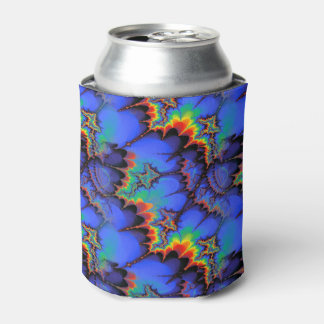 Electric Rainbow Waves Fractal Art Pattern Can Cooler