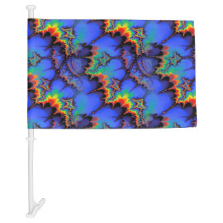Electric Rainbow Waves Fractal Art Pattern Car Flag