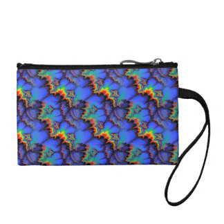 Electric Rainbow Waves Fractal Art Pattern Coin Wallet