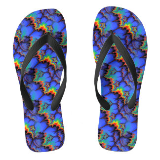 Electric Rainbow Waves Fractal Art Pattern Flip Flops