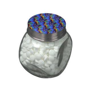 Electric Rainbow Waves Fractal Art Pattern Glass Candy Jar