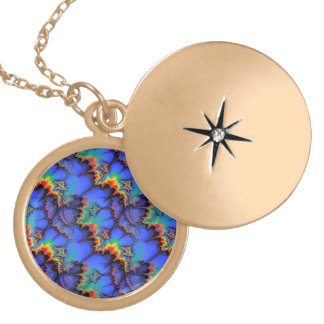 Electric Rainbow Waves Fractal Art Pattern Gold Plated Necklace
