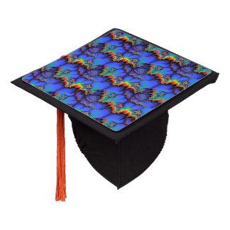 Electric Rainbow Waves Fractal Art Pattern Graduation Cap Topper