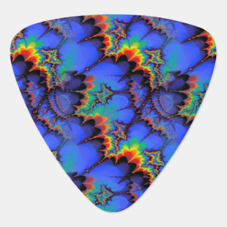 Electric Rainbow Waves Fractal Art Pattern Guitar Pick