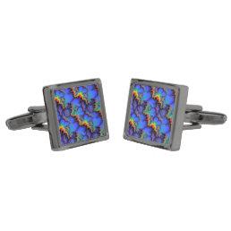 Electric Rainbow Waves Fractal Art Pattern Gunmetal Finish Cufflinks