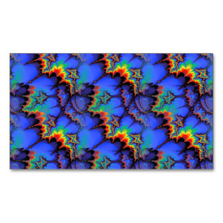 Electric Rainbow Waves Fractal Art Pattern Magnetic Business Card