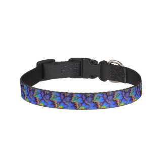 Electric Rainbow Waves Fractal Art Pattern Pet Collar