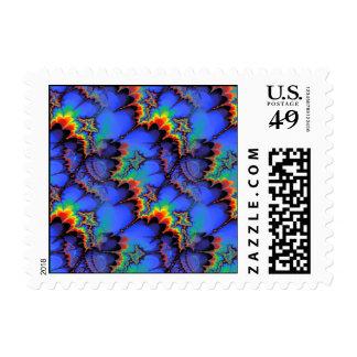 Electric Rainbow Waves Fractal Art Pattern Postage