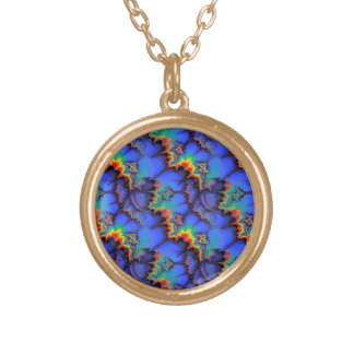 Electric Rainbow Waves Fractal Art Pattern Round Pendant Necklace