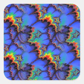 Electric Rainbow Waves Fractal Art Pattern Square Sticker