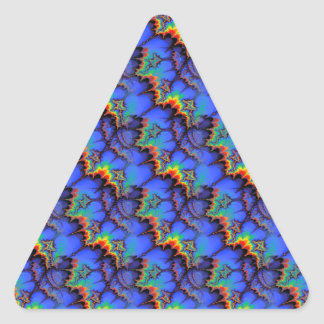 Electric Rainbow Waves Fractal Art Pattern Triangle Sticker