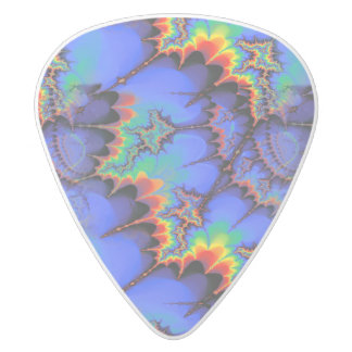 Electric Rainbow Waves Fractal Art Pattern White Delrin Guitar Pick