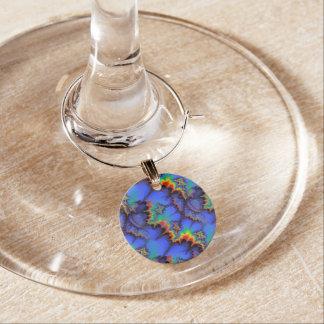 Electric Rainbow Waves Fractal Art Pattern Wine Charm