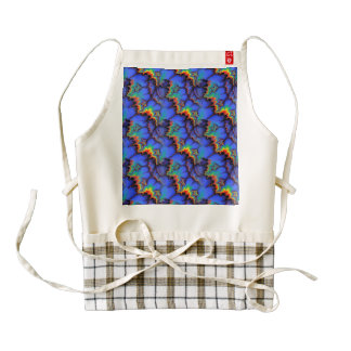 Electric Rainbow Waves Fractal Art Pattern Zazzle HEART Apron
