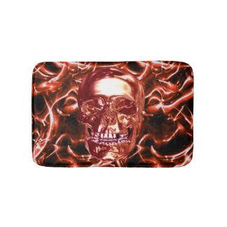 Electric Red Chrome Skull Bath Mat