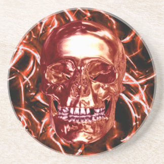 Electric Red Chrome Skull Coaster
