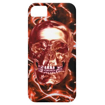 Electric Red Chrome Skull iPhone 5G Case