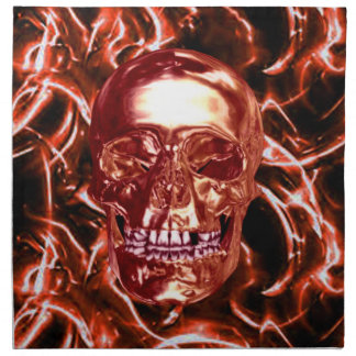Electric Red Chrome Skull Napkins