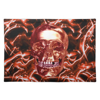 Electric Red Chrome Skull Placemat