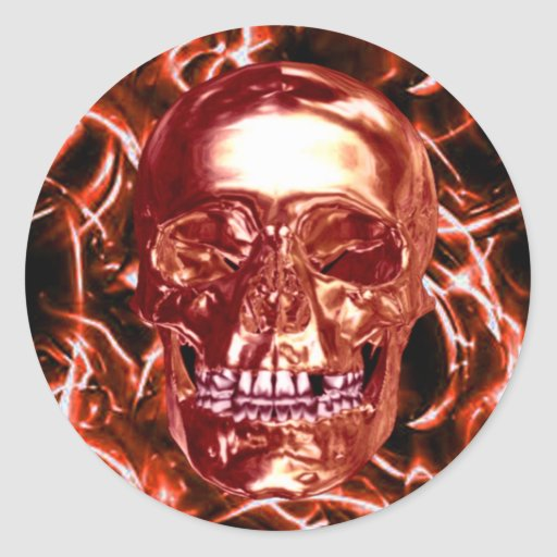 Electric Red Chrome Skull Stickers