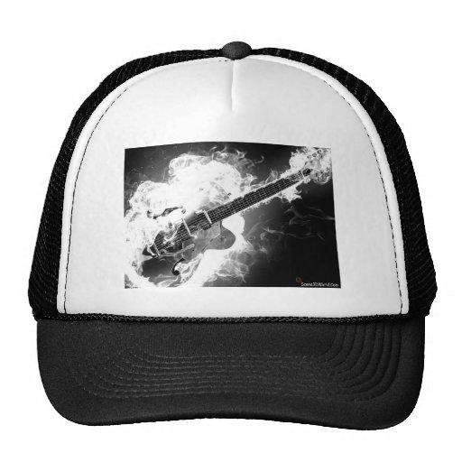 Electric Rockabilly Guitar on Fire Monochrome Trucker Hat