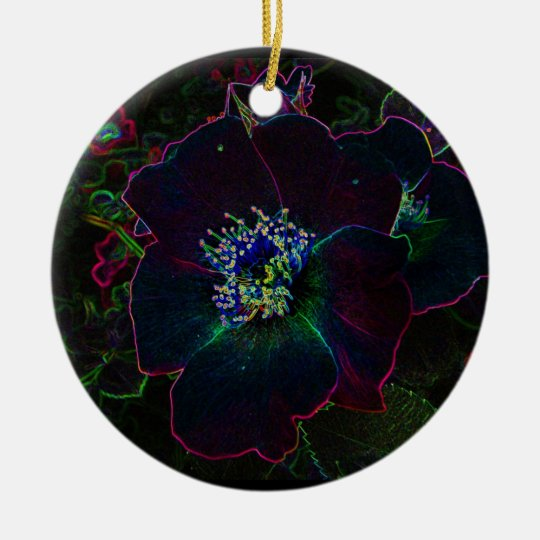 Electric Rose Christmas Ceramic Ornament
